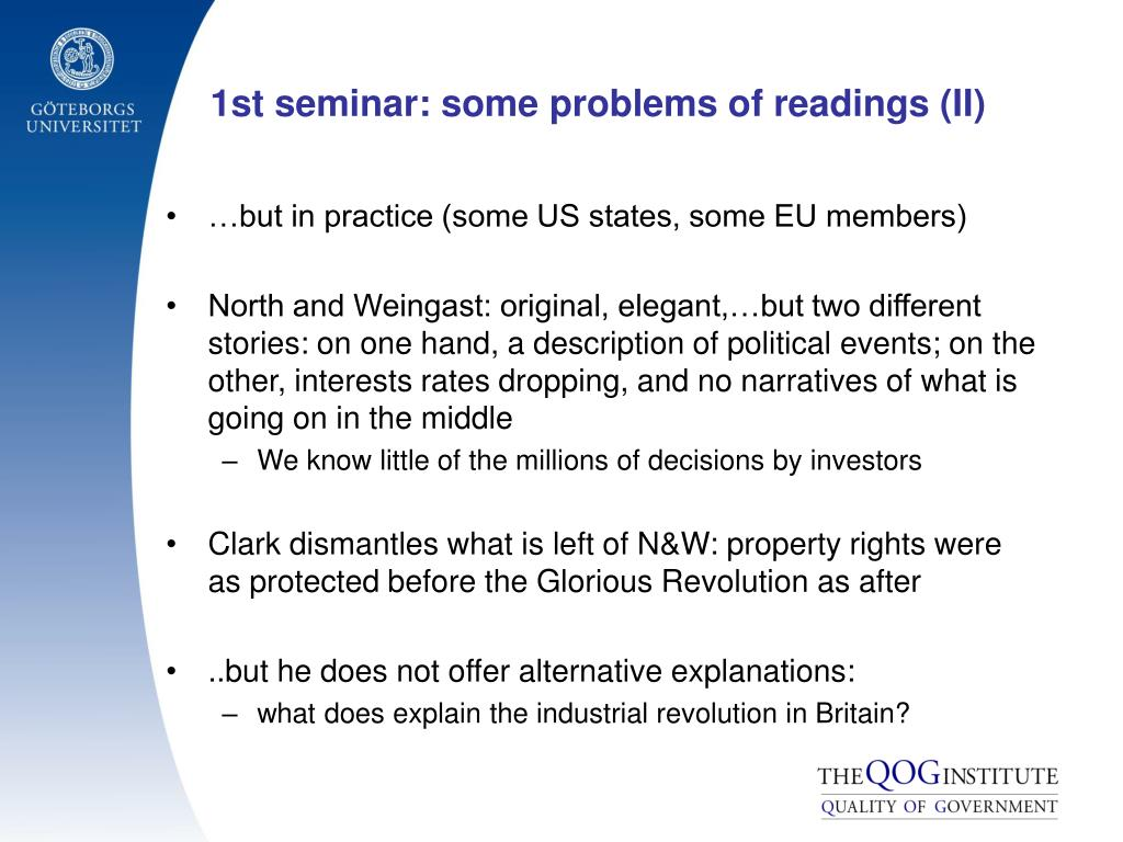 1st seminar: some problems of readings (II)