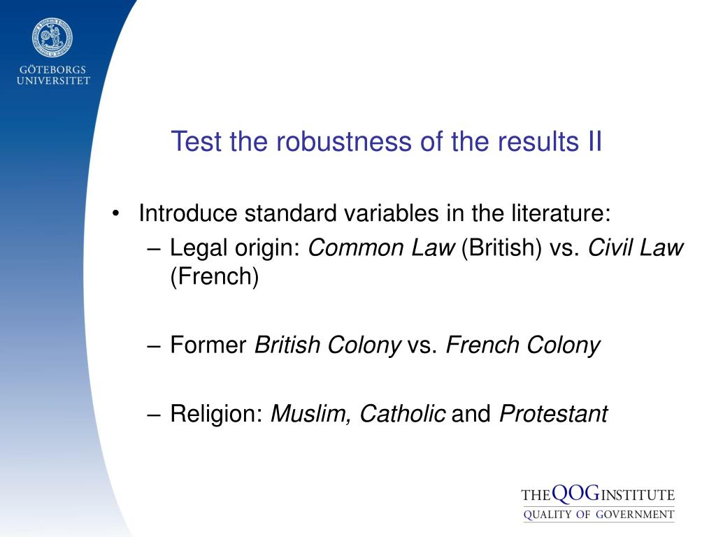 Test the robustness of the results II