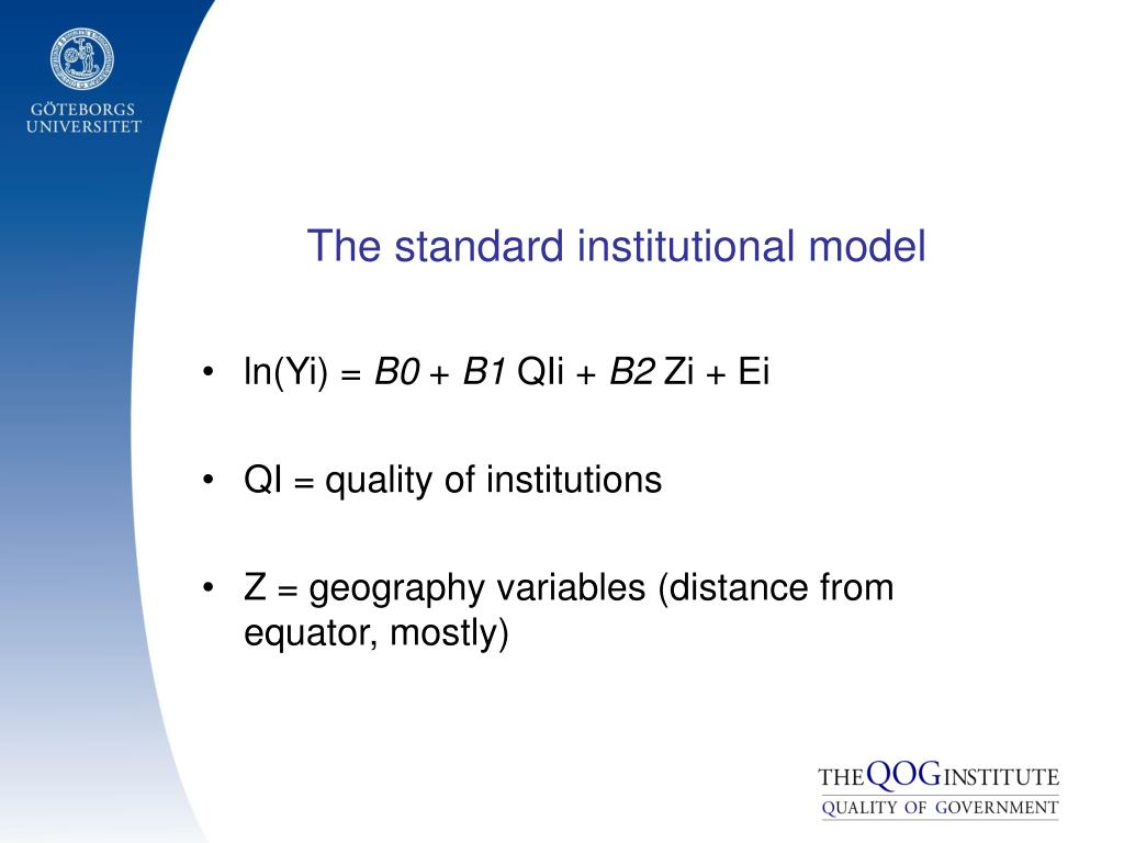 The standard institutional model
