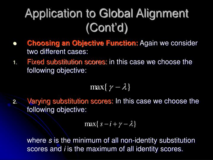 Application to Global Alignment (Cont'd)