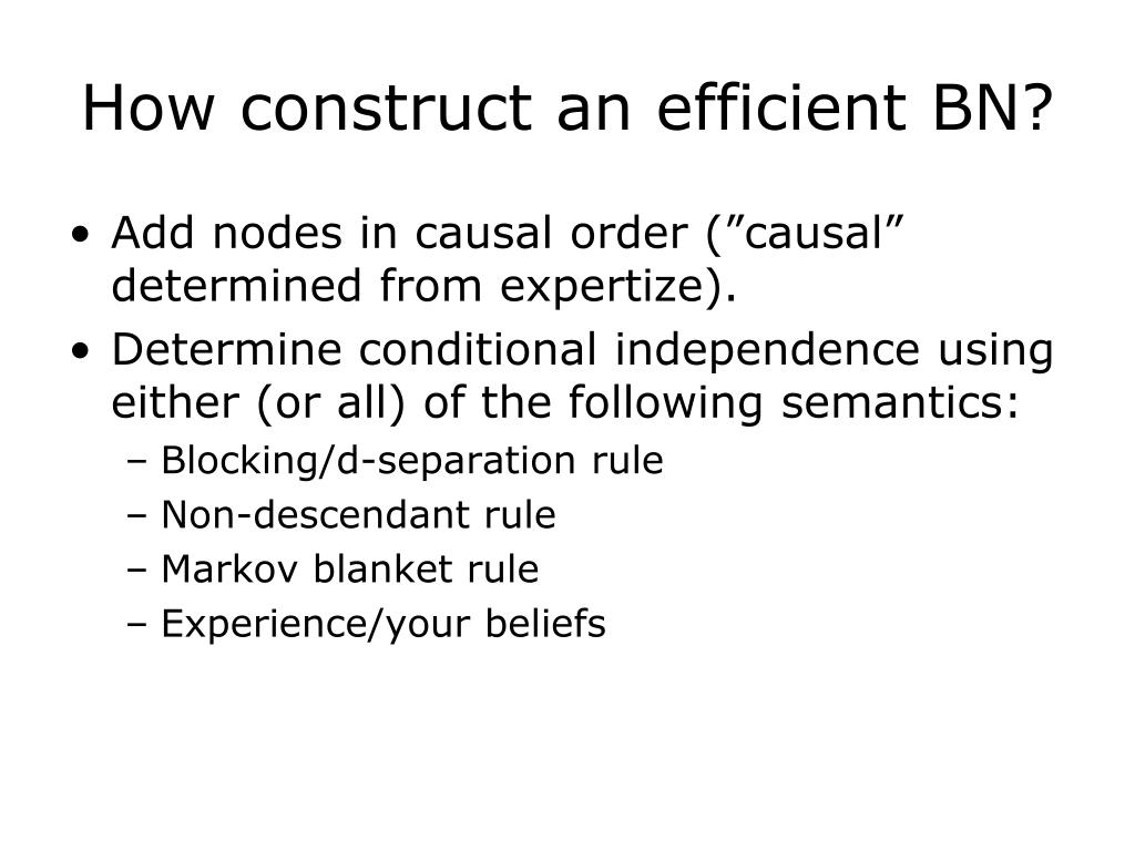 How construct an efficient BN?