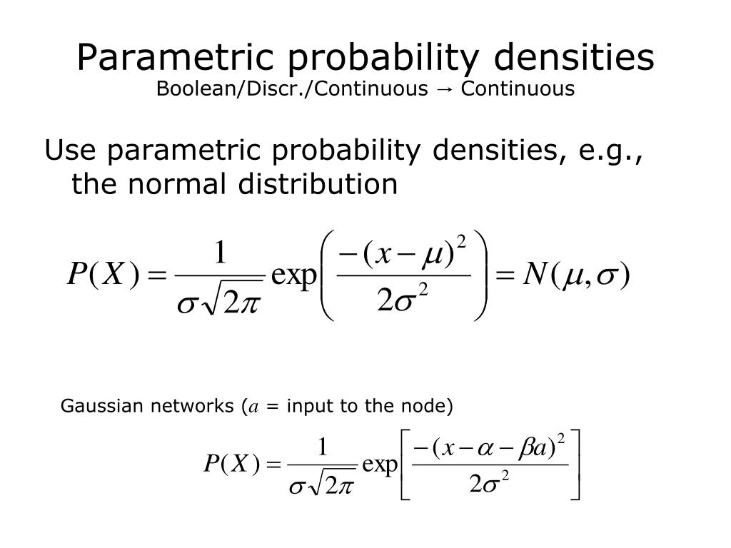 Parametric probability densities