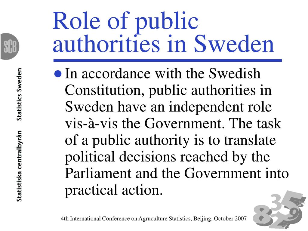 Role of public authorities in Sweden