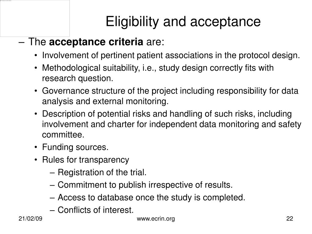 Eligibility and acceptance