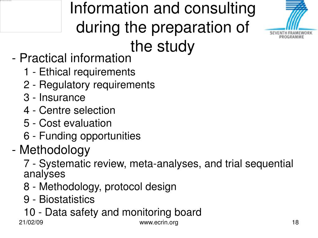 Information and consulting during the preparation of the study