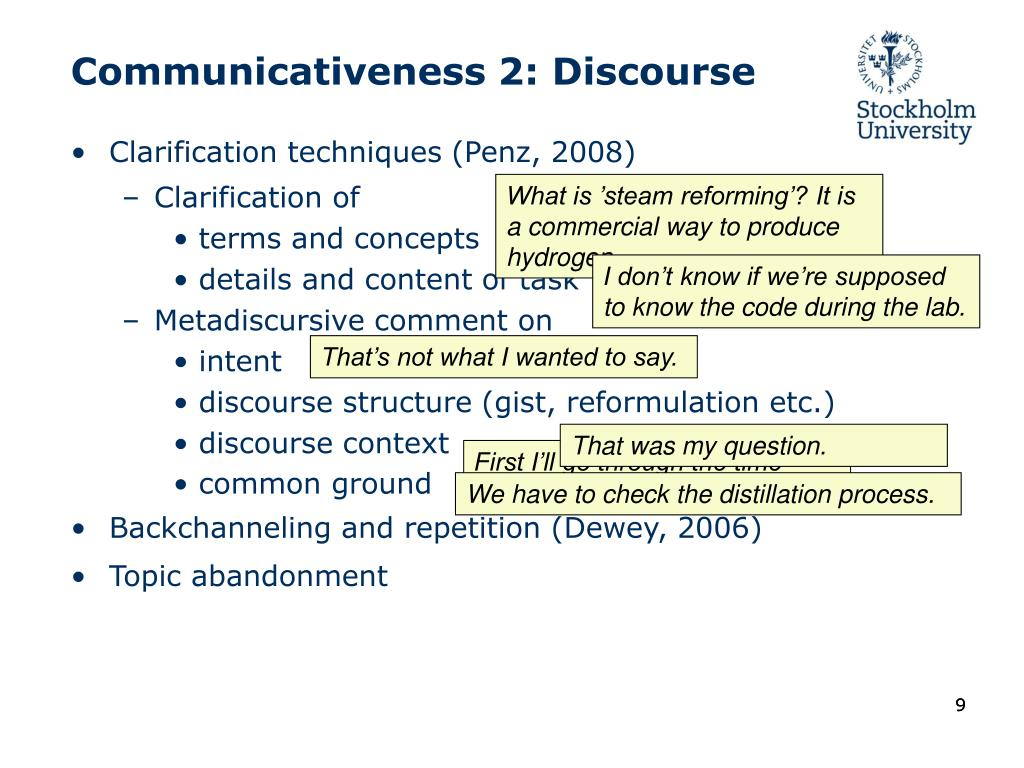 Communicativeness 2: Discourse