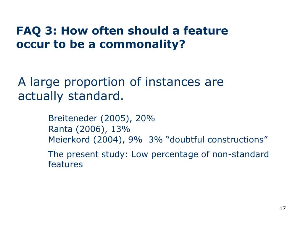 FAQ 3: How often should a feature occur to be a commonality?