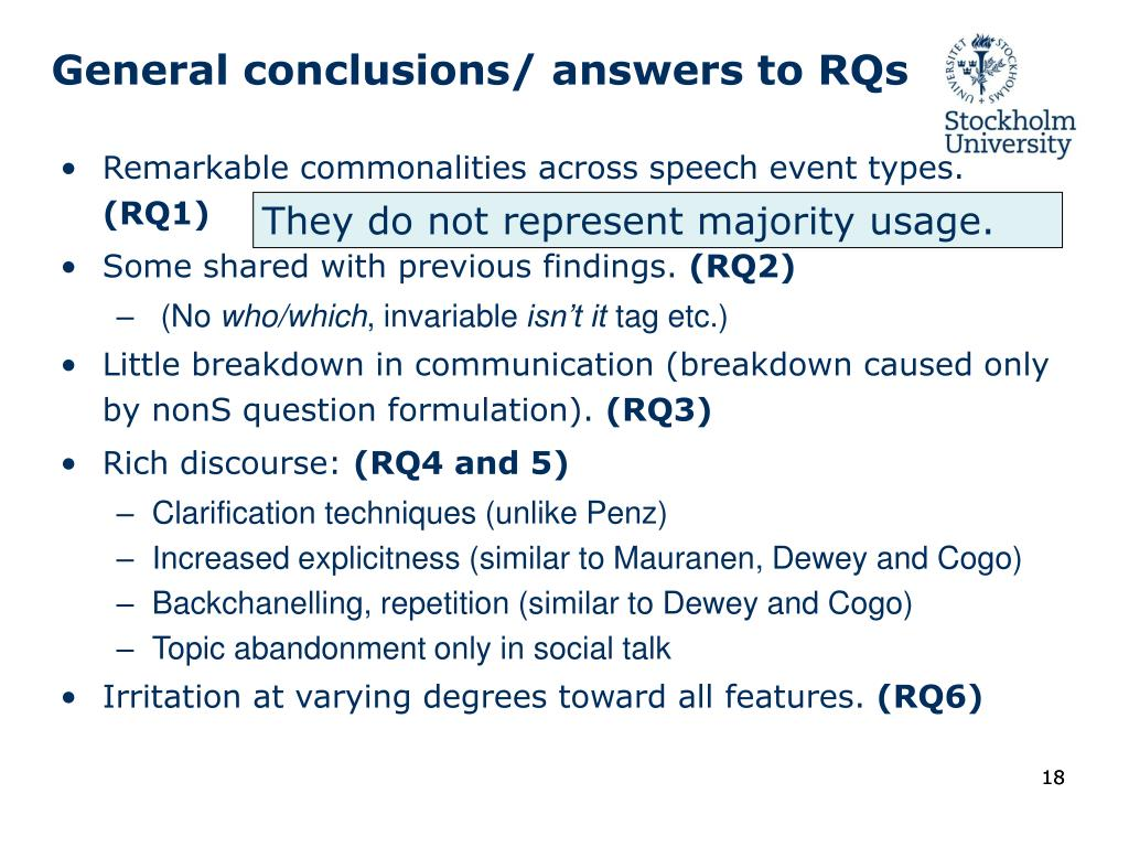 General conclusions/ answers to RQs