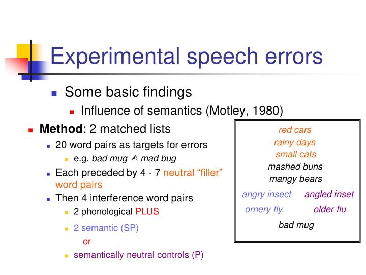 Experimental speech errors
