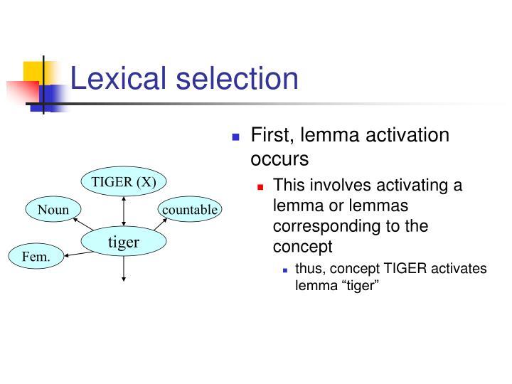 Lexical selection