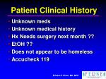 patient clinical history
