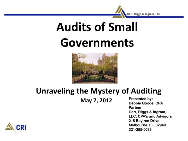 Audits of small governments