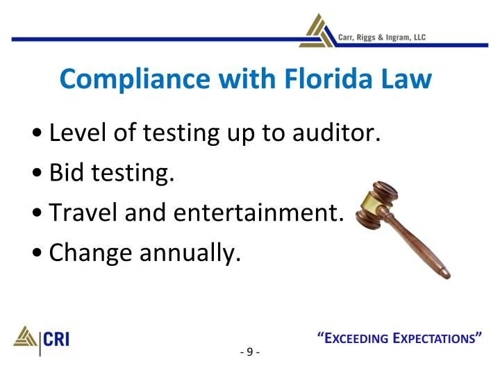 Compliance with Florida Law
