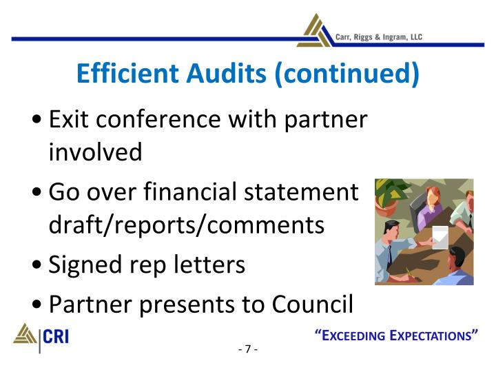 Efficient Audits (continued)