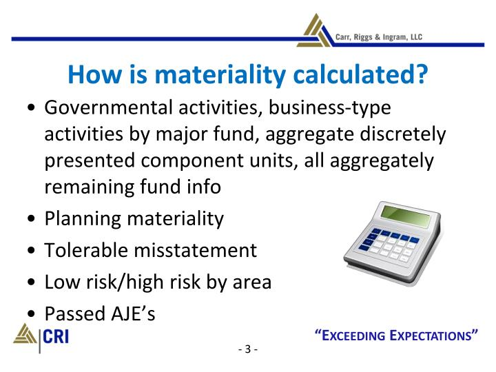 How is materiality calculated?