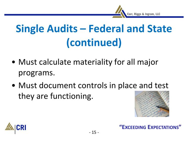 Single Audits – Federal and State (continued)