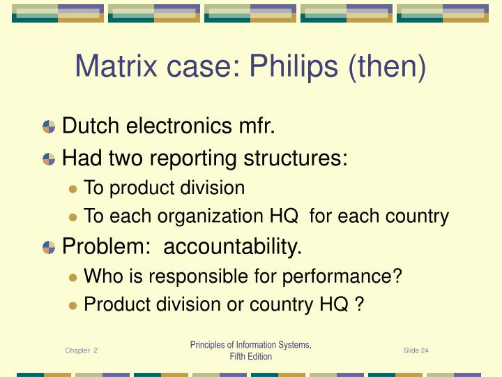 Matrix case: Philips (then)