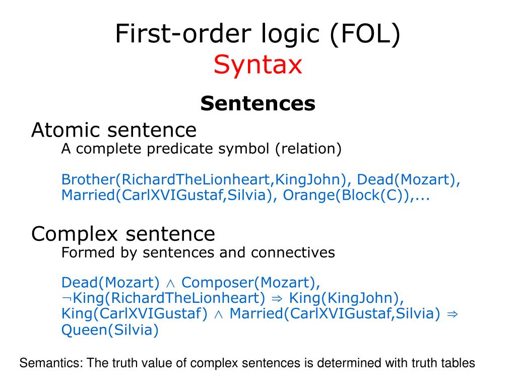 First-order logic (FOL)