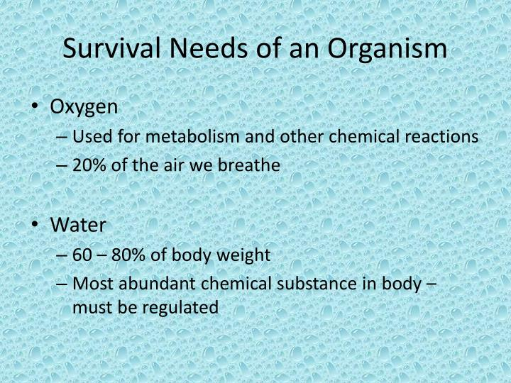 Survival Needs of an Organism
