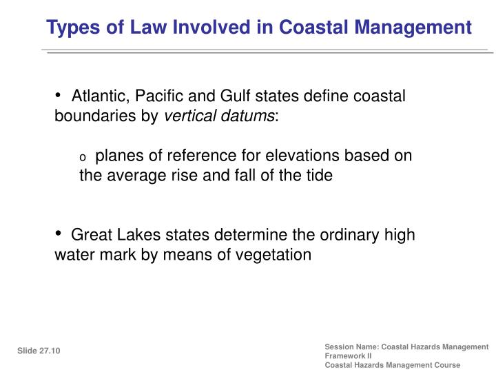 Types of Law Involved in Coastal Management