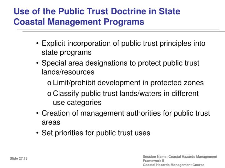 Use of the Public Trust Doctrine in State Coastal Management Programs