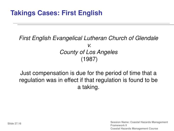 Takings Cases: First English