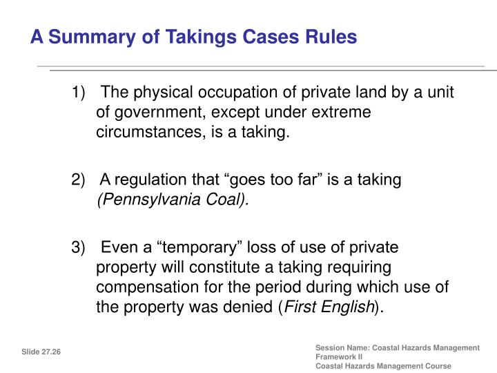 A Summary of Takings Cases Rules