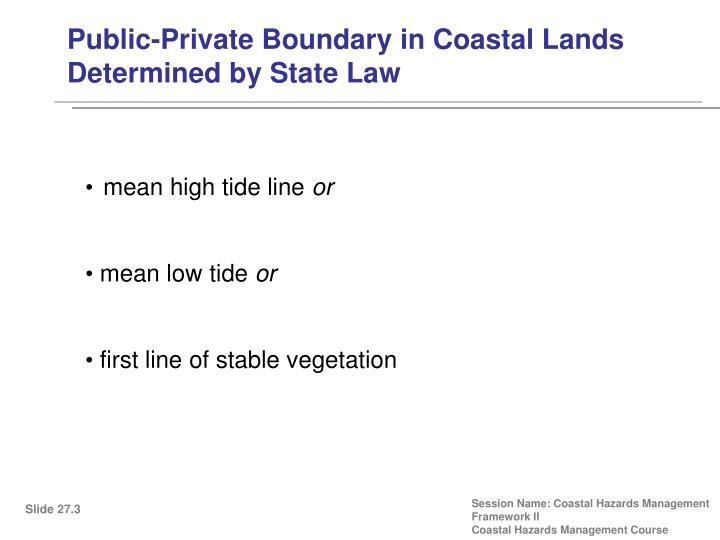 Public-Private Boundary in Coastal Lands