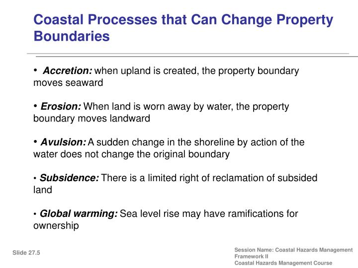 Coastal Processes that Can Change Property