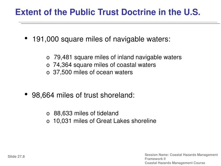Extent of the Public Trust Doctrine in the U.S.