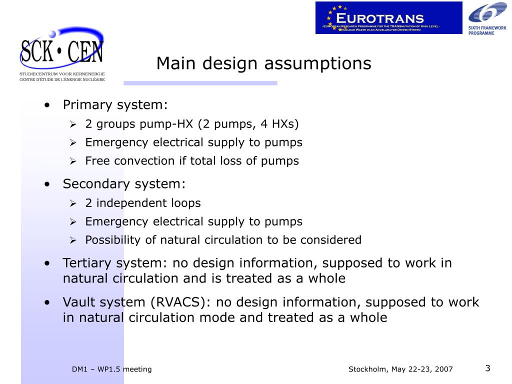 Main design assumptions