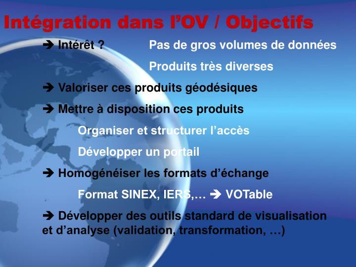 Intégration dans l'OV / Objectifs