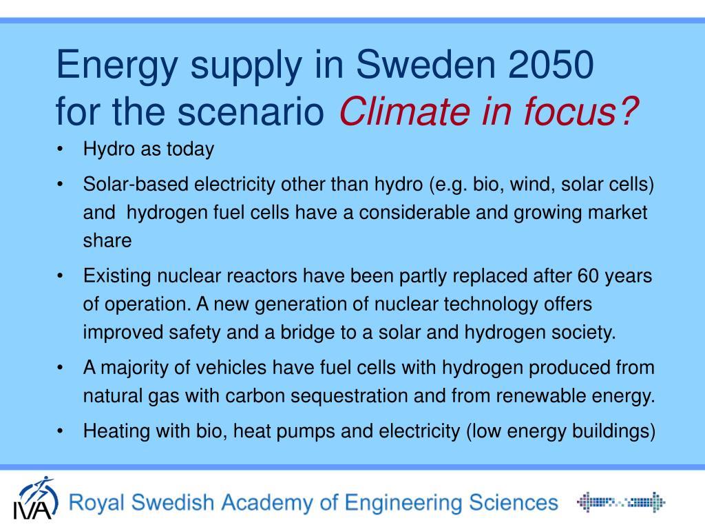 Energy supply in Sweden 2050