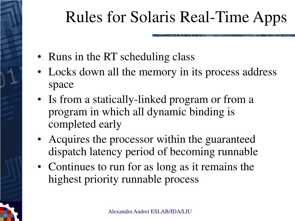 Runs in the RT scheduling class