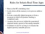 rules for solaris real time apps