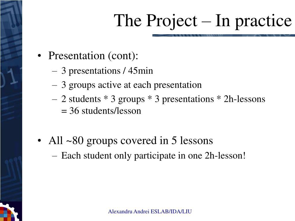 Presentation (cont):