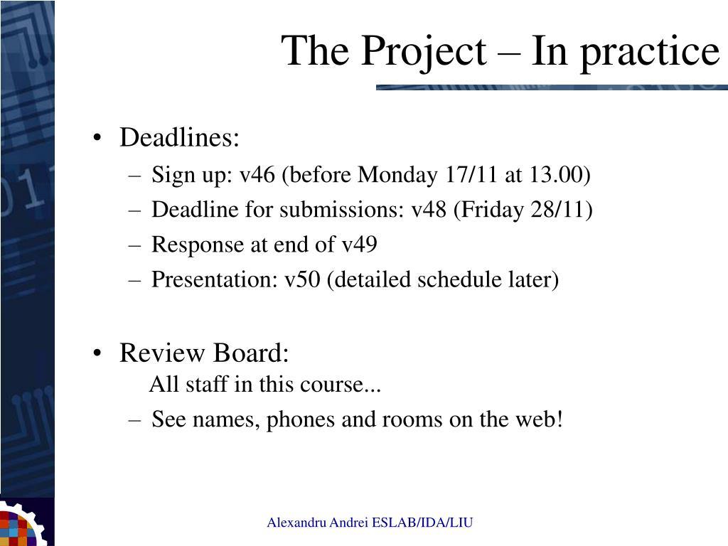 Deadlines: