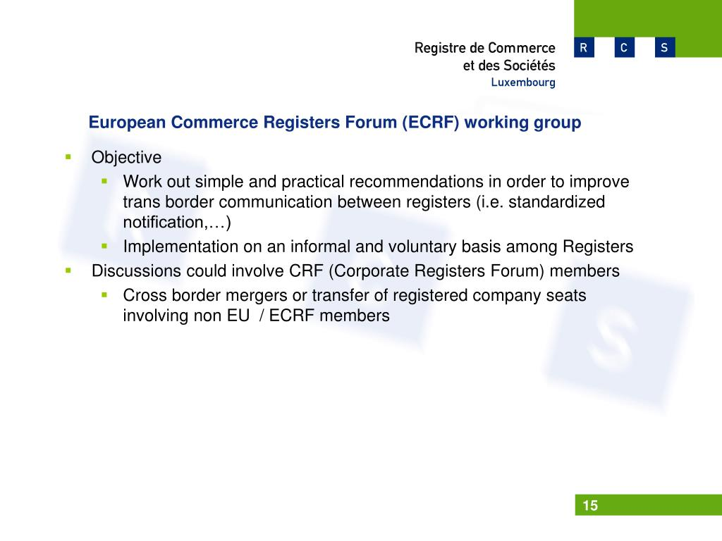 European Commerce Registers Forum (ECRF) working group