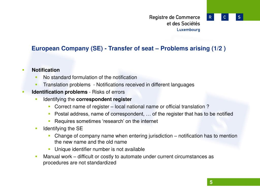 European Company (SE) - Transfer of seat – Problems arising (1/2 )