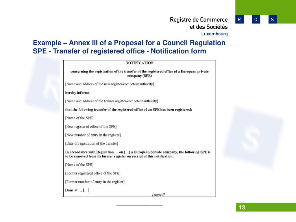 Example – Annex III of a Proposal for a Council Regulation
