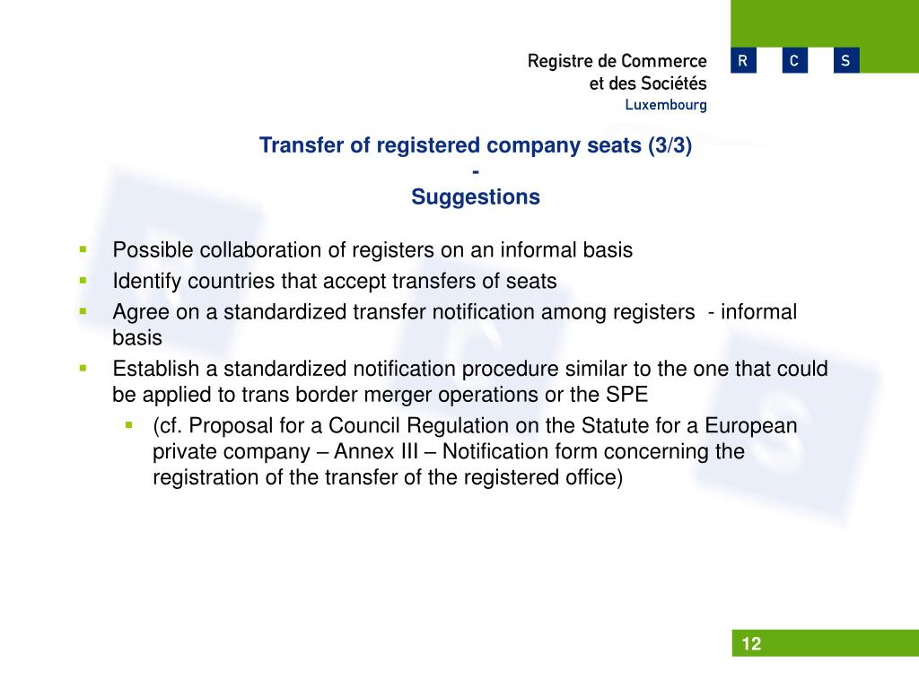 Transfer of registered company seats (3/3)