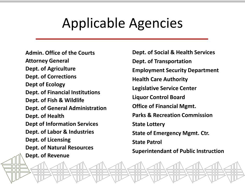 Applicable Agencies