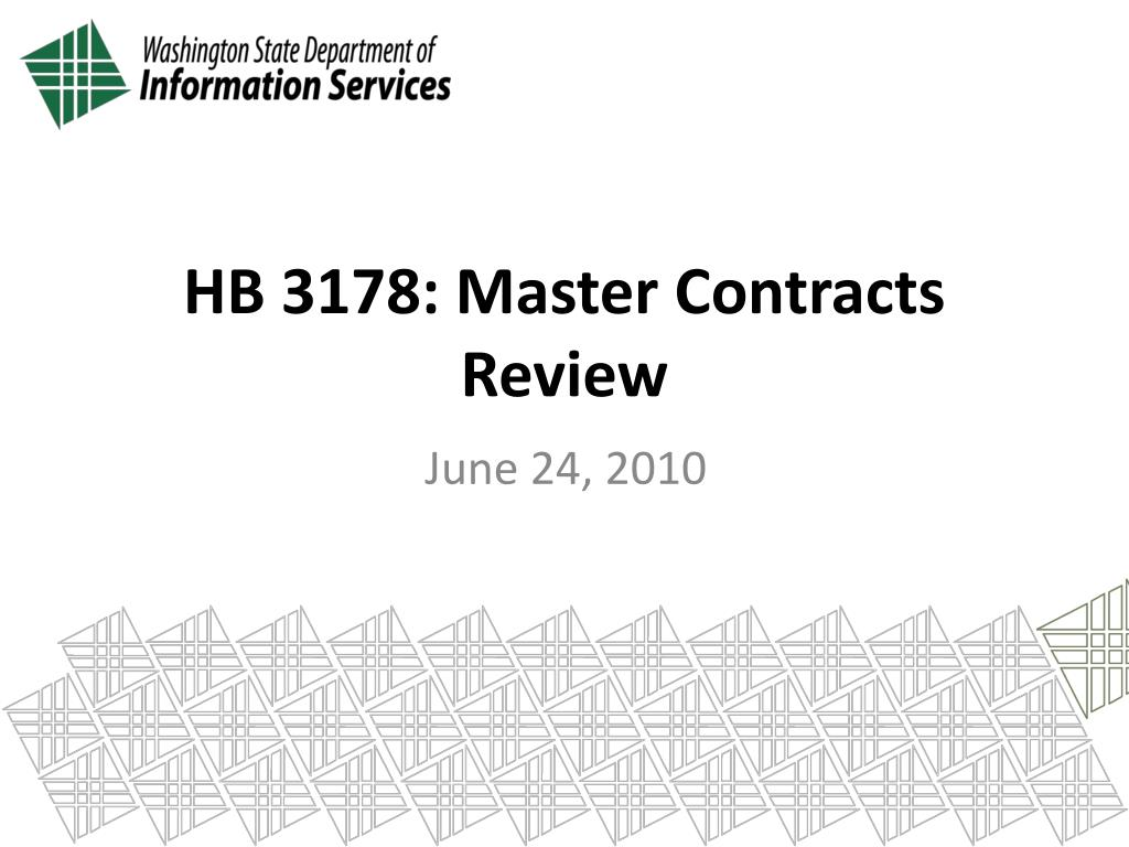 HB 3178: Master Contracts Review