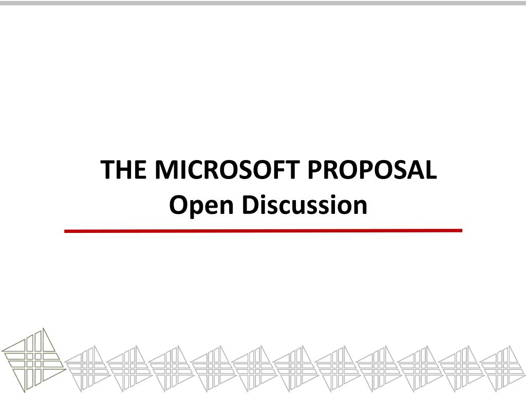 The Microsoft Proposal