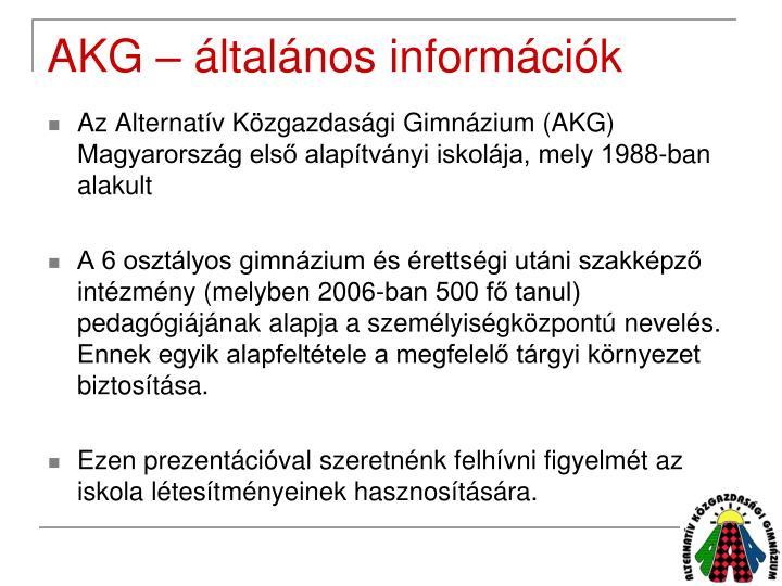 AKG – általános információk