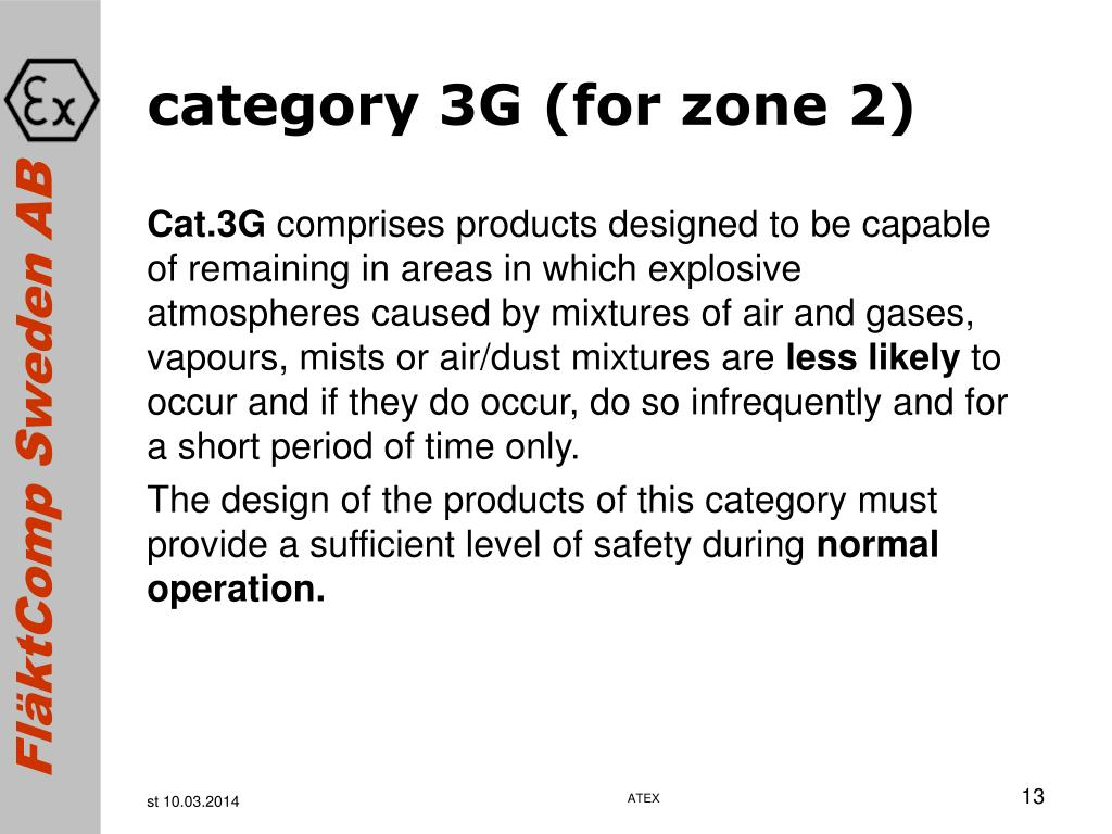 category 3G (for zone 2)