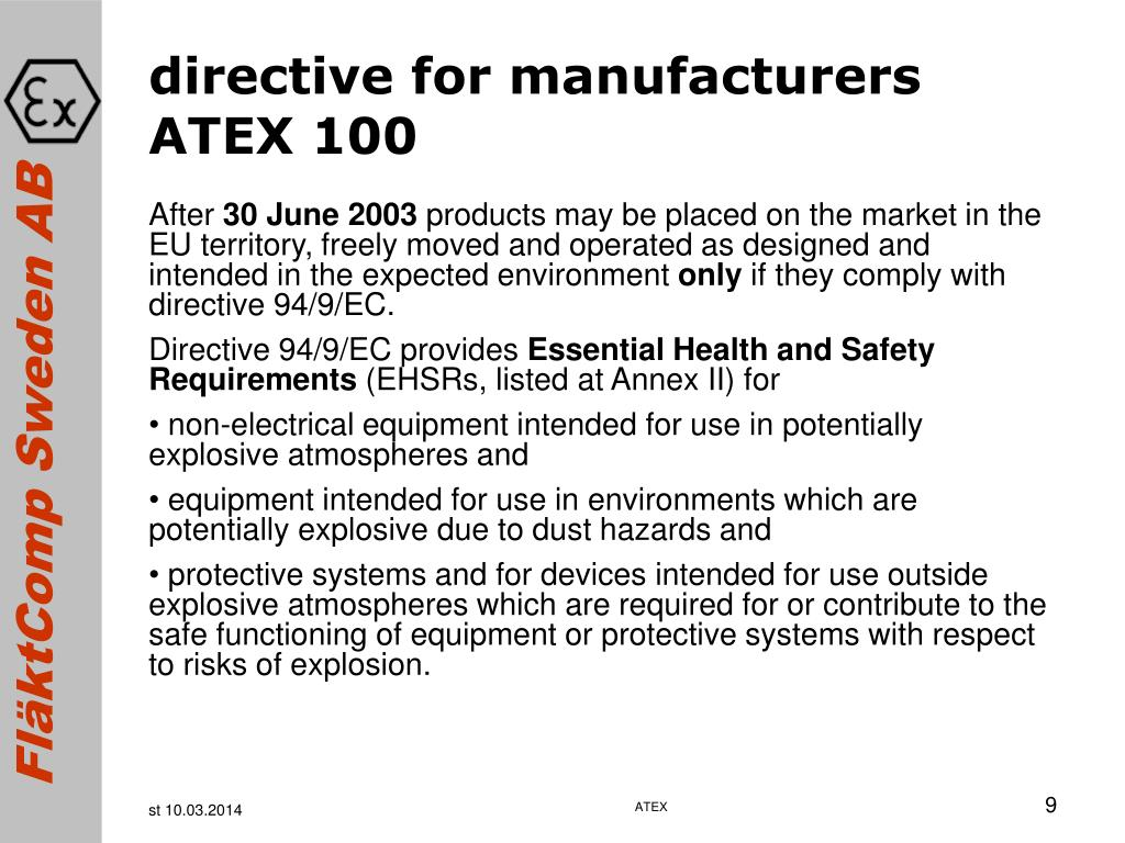 directive for manufacturers