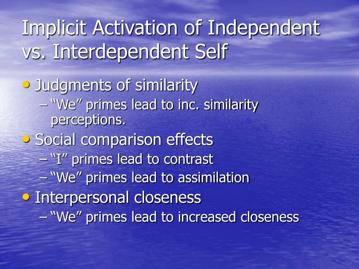 Implicit Activation of Independent vs. Interdependent Self
