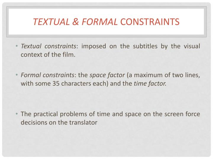 Textual & Formal
