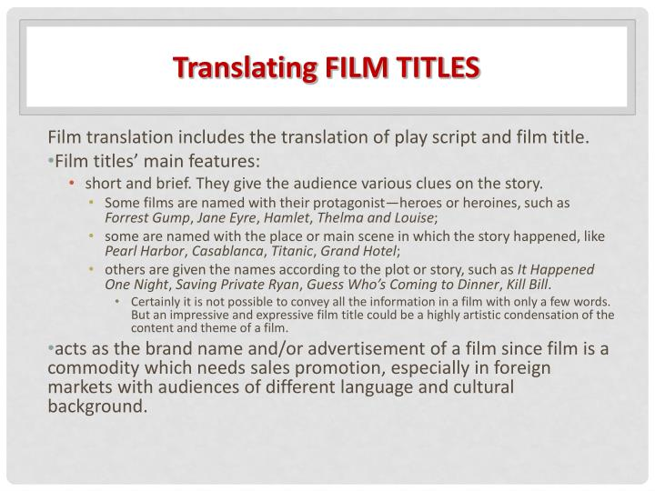 Translating FILM TITLES
